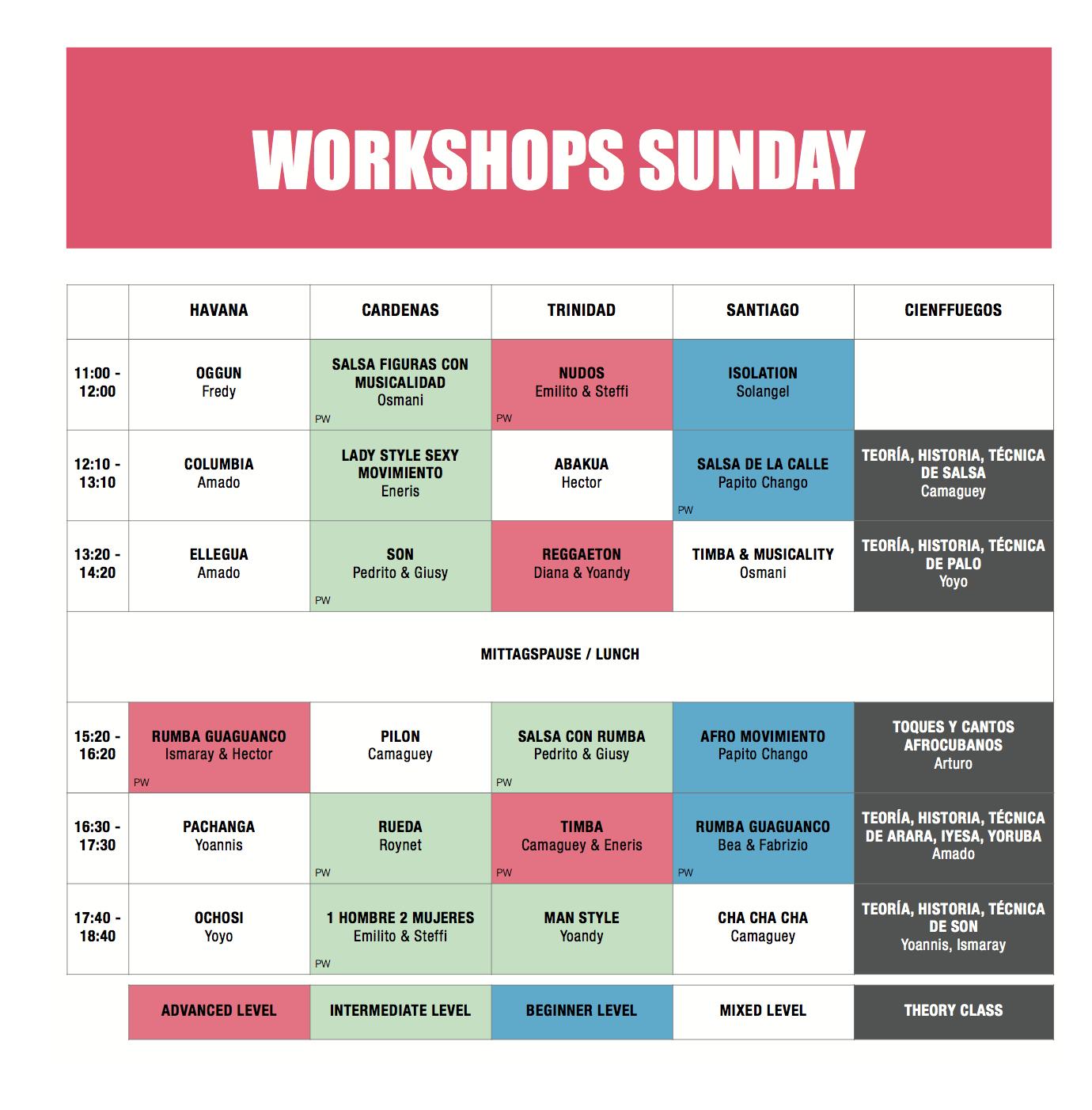 Workshops Sunday